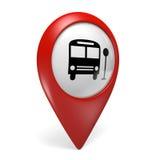 3D rode pictogram van de kaartwijzer met een bussymbool voor openbaar vervoer vector illustratie