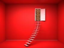3d rode ruimte met geopende deur Bakstenen muur Stock Fotografie