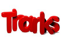 3D Rode Word Dank op witte achtergrond Stock Afbeeldingen