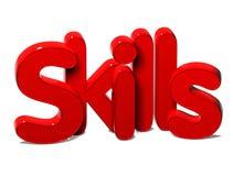 3D Rode Word Vaardigheden op witte achtergrond Royalty-vrije Stock Foto's