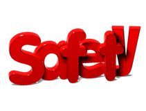 3D Rode Word Veiligheid op witte achtergrond Stock Foto's
