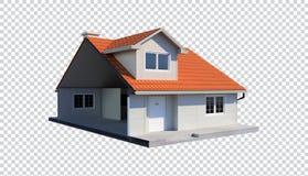 3d rodziny dom odizolowywał przejrzystego tło żyłującego w połówce