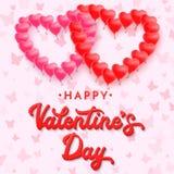 3d rojo que pone letras a día de tarjetas del día de San Valentín feliz globos Fotografía de archivo libre de regalías
