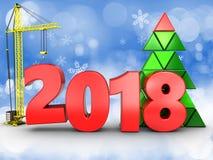 3d 2018 rok z żurawiem Obraz Stock