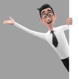 3d roligt tecken, förstående seende affärsman för tecknad film Royaltyfria Bilder