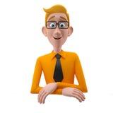 3d roligt tecken, förstående seende affärsman för tecknad film Royaltyfria Foton