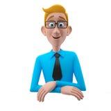 3d roligt tecken, förstående seende affärsman för tecknad film Royaltyfri Bild
