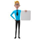 3d roligt tecken, förstående seende affärsman för tecknad film Arkivbild