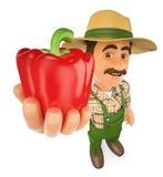 3D rolnik z czerwonym pieprzem od jego żniwa Fotografia Royalty Free