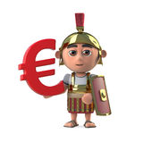 3d Roman Centurion has a Euro currency symbol. Royalty Free Stock Photography