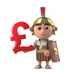 3d Roman Centurion has UK Pounds Sterling currency symbol. 3d render of a cute Roman Soldier holding a UK Pounds Sterling currency symbol royalty free illustration