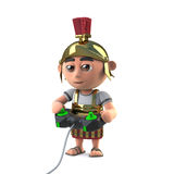 3d Roman centurion soldier plays a video game Royalty Free Stock Photography