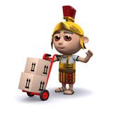 3d Roman soldier delivers boxes on a cart Stock Photography