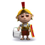 3d Roman soldier goes shopping Royalty Free Stock Images