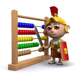 3d Roman soldier has an abacus Royalty Free Stock Photography