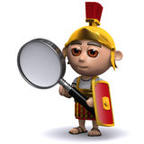 3d Roman soldier magnifies Royalty Free Stock Image