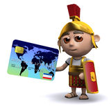 3d Roman soldier pays by debit card Royalty Free Stock Image