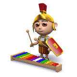 3d Roman soldier plays the blues. 3d render of a Roman soldier playing a xylophone Stock Image