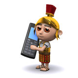3d Roman soldier talking on a mobile phone Stock Image