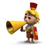 3d Roman soldier uses a megaphone Stock Image