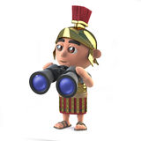 3d Roman soldier using binoculars. 3d render of a Roman soldier holding a pair of binoculars Royalty Free Stock Images