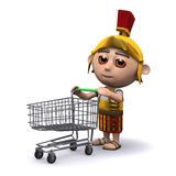 3d Roman soldier wheels his shopping cart Stock Photography