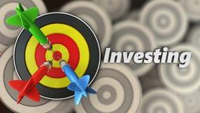 3d rond doel met het investeren van teken Royalty-vrije Stock Foto