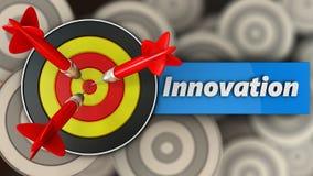 3d rond doel met innovatieteken Stock Afbeeldingen