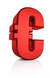 3D Rood Euro Teken Stock Afbeelding