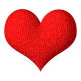 3D rood hart met raadseltextuur Stock Foto's