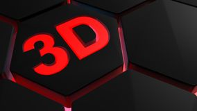 3D in rood licht backlighted zeshoeken - het 3D teruggeven Stock Foto's