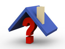 3d rooftop on question mark Stock Photo