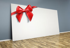 3d  room with blank poster and red bow Stock Photo