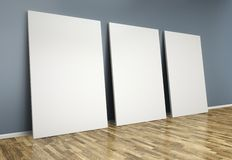 3d  room with blank posters Stock Images