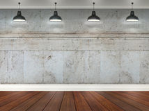 3d room with ceiling lamps Royalty Free Stock Photo