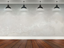 3d room with ceiling lamps Stock Photos