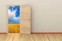 3d room with opened door Royalty Free Stock Photography