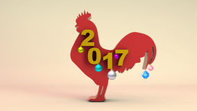 3D ROOSTER AND 2017 YEAR Royalty Free Stock Photos
