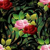 3d roses seamless pattern. Vector floral background wallpaper il. Lustration with vintage hand drawn pink red 3d roses flowers, green leaves, paisley ornaments Royalty Free Stock Image
