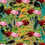 3d roses seamless pattern. Vector floral background wallpaper il. Lustration with vintage hand drawn pink red 3d roses flowers, green leaves, stripes and line royalty free illustration