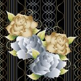 3d roses on the striped background. Wave vertical lines Stock Photos