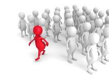 3d rosso Person Out From Crowd Concetto di direzione di individualità Fotografie Stock