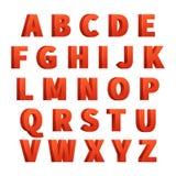 3d rosso segna l'alfabeto con lettere di vettore, segnante Fotografie Stock Libere da Diritti