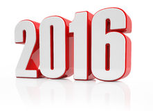 3d - 2016 - rot-weiß Stockfotos