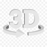 3D rotate button sign icon. Vector. 3D rotate button sign in solid grayscale colors icon on transparent background. Blank horisontal rotation arrow. Vector Stock Photography