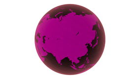 3D Rotating glossy pink-violet glass earth-globe rendered on white background. 4k, loopable. stock video
