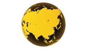 3D Rotating glossy yellow-orange glass earth-globe rendered on white background. 4k, loopable. stock video footage