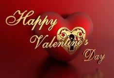 3D roter romantischer Valentine Heart Background mit glücklichem Valentinsgruß ` s Tagestext Lizenzfreie Stockfotos