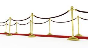 3d: Roter Teppich mit Pfosten für Film-Premiere Stockfoto