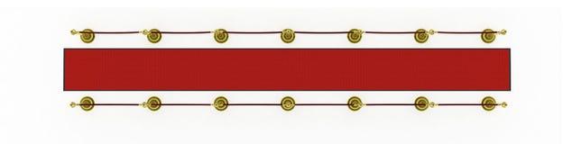 3d: Roter Teppich mit Pfosten für Film-Premiere Stockfotos
